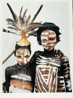 Two Hats, Tribal Children Ethiopia, Africa, Photograph on Japanese Paper