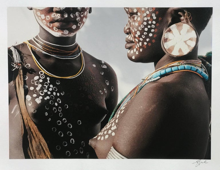Jean-Michel Voge Color Photograph - Two Sisters, Omo Valley Ethiopia Africa, Tribal Family Photographic Portrait