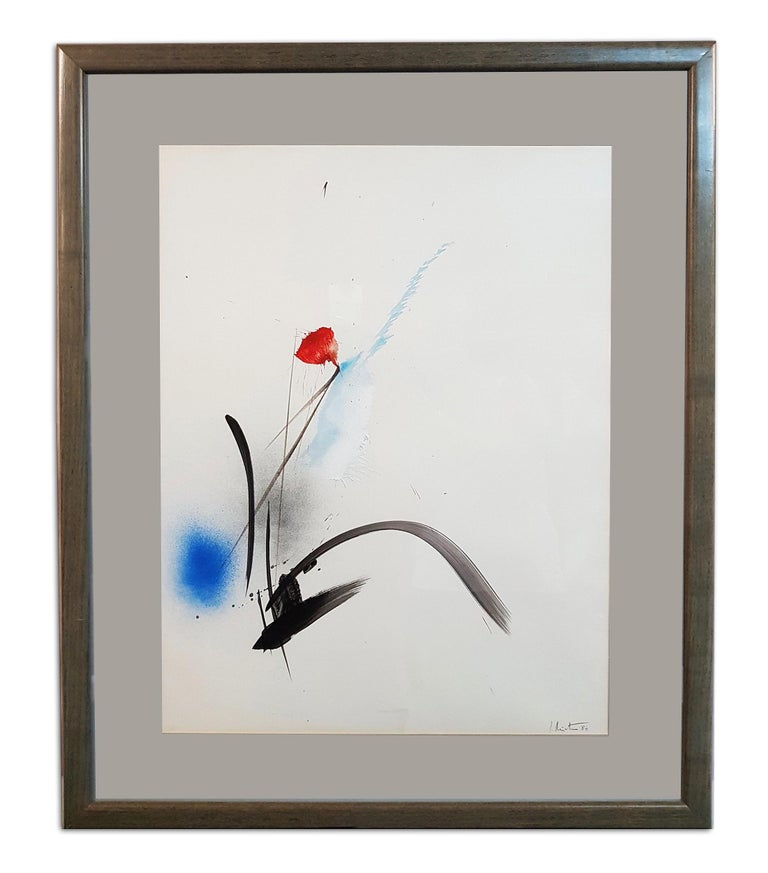 Jean Miotte(1926-2016)  Oil & Gouache on paper depicting a flower. Signed lower right and dated 84. Matted and framed Measurements: H. 25