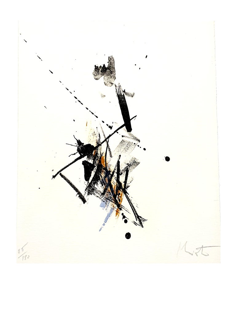 Jean Miotte - Abstract Composition - Original Signed Lithograph - Gray Abstract Print by Jean Miotte