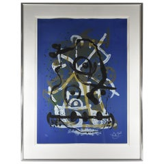 Jean Miro Spanish Abstract Lithograph Chevauchee Blue Brun Signed 55/75, 1969