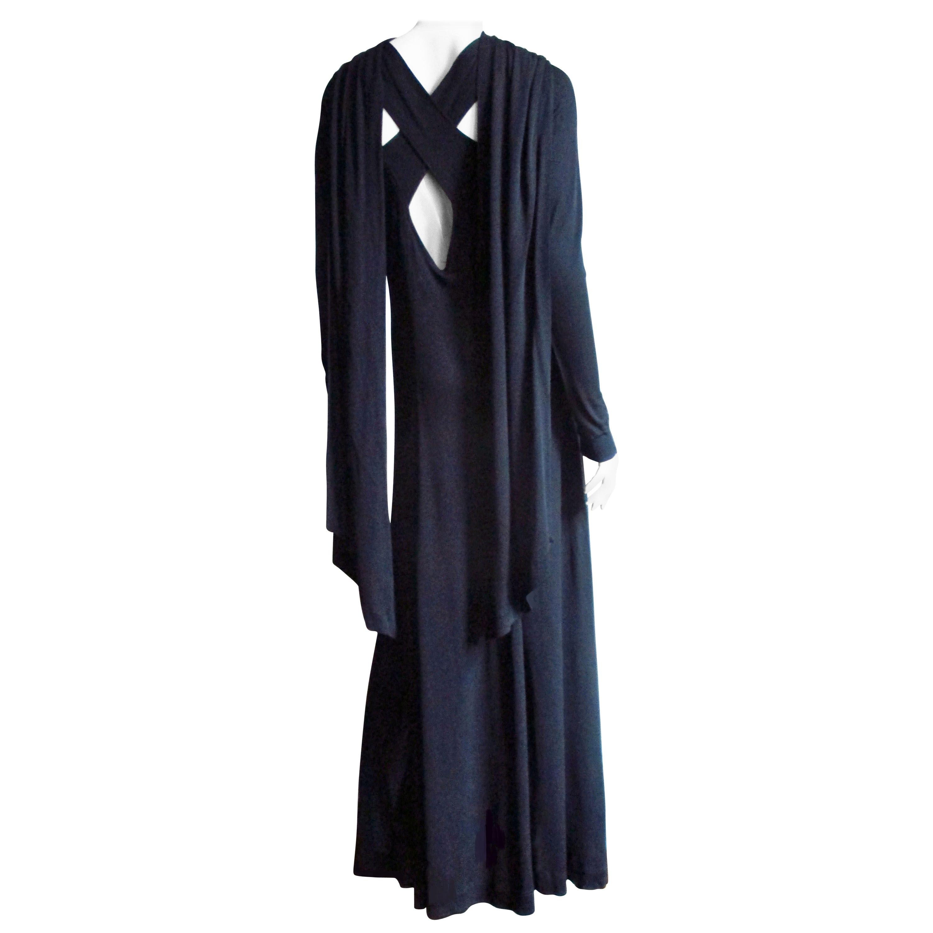 Jean Muir Cut out Maxi Dress with Back Draping 1970s