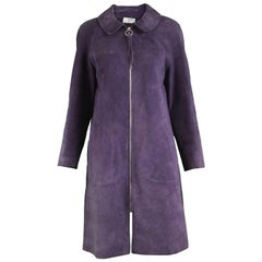 Jean Muir for Morel Vintage Zip Front Mod Morel Purple Suede Coat Jacket, 1960s