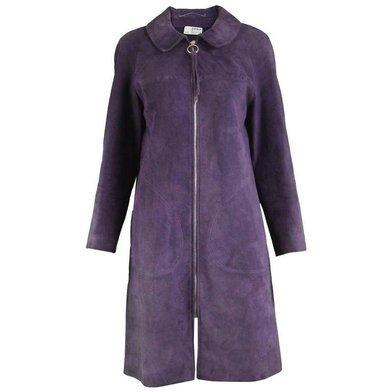 Jean Muir for Morel Vintage 1960s Zip Front Mod Morel Purple Suede Coat Jacket