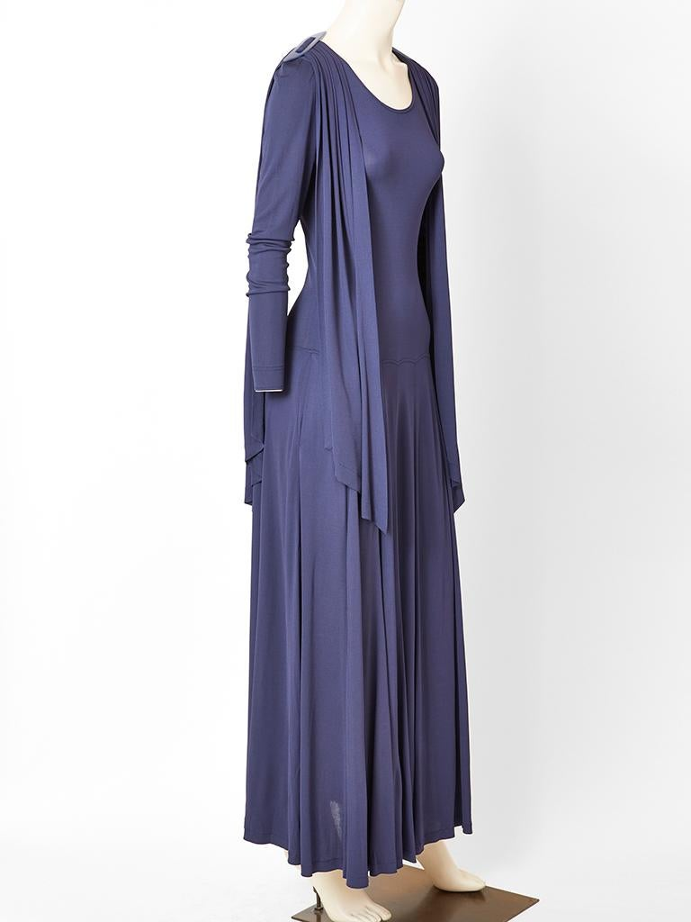 Jean Muir Ink Blue Jersey Maxi Dress In Good Condition For Sale In New York, NY
