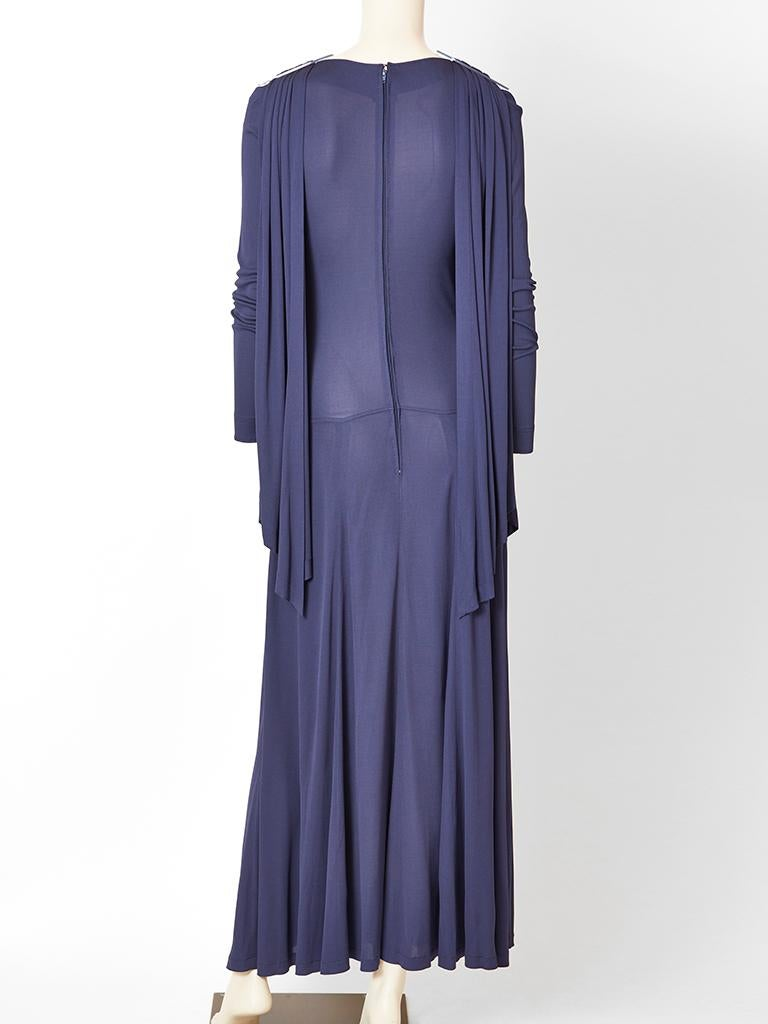 Jean Muir Ink Blue Jersey Maxi Dress For Sale 1