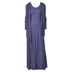 Jean Muir Ink Blue Jersey Maxi Dress