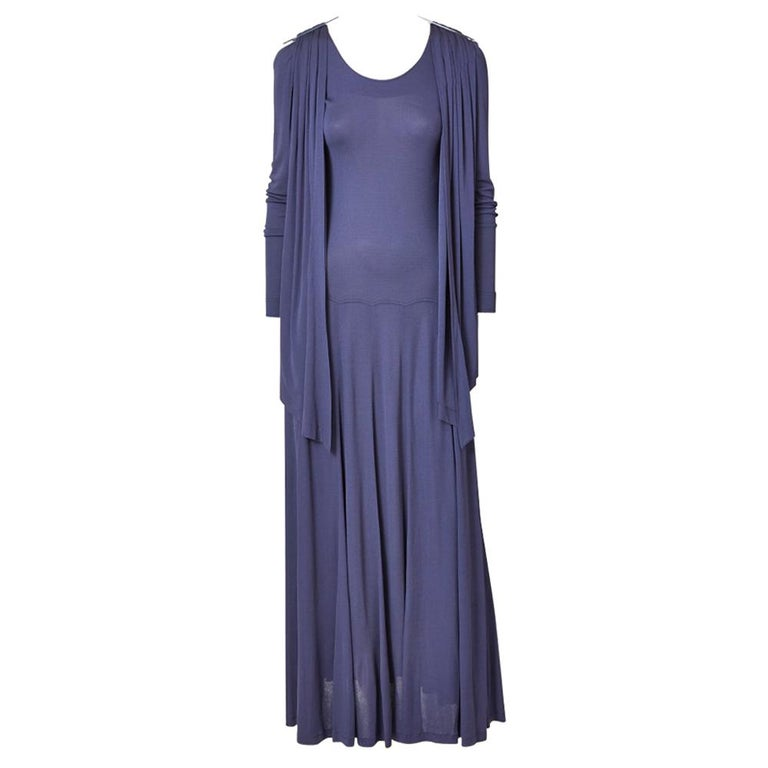 Jean Muir Ink Blue Jersey Maxi Dress For Sale