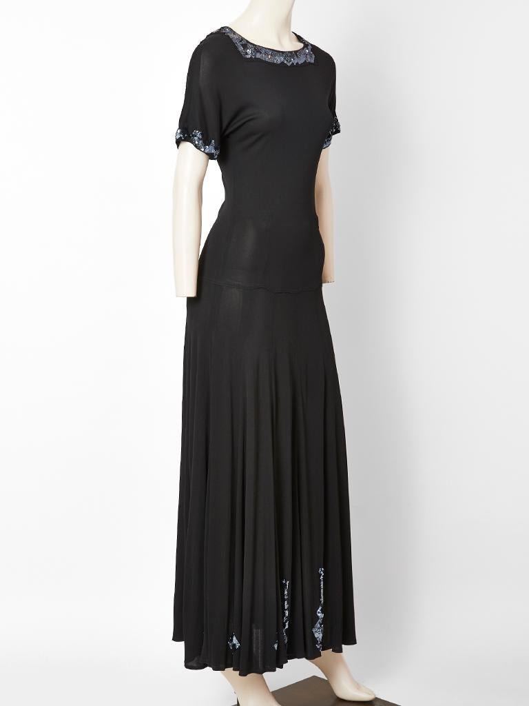 Black Jean Muir Jersey Maxi Dress with Sequined Embellishment For Sale