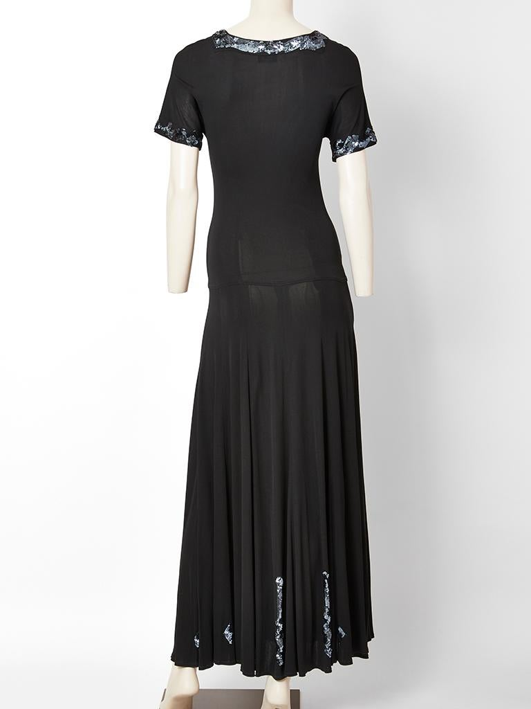 Jean Muir Jersey Maxi Dress with Sequined Embellishment In Good Condition For Sale In New York, NY