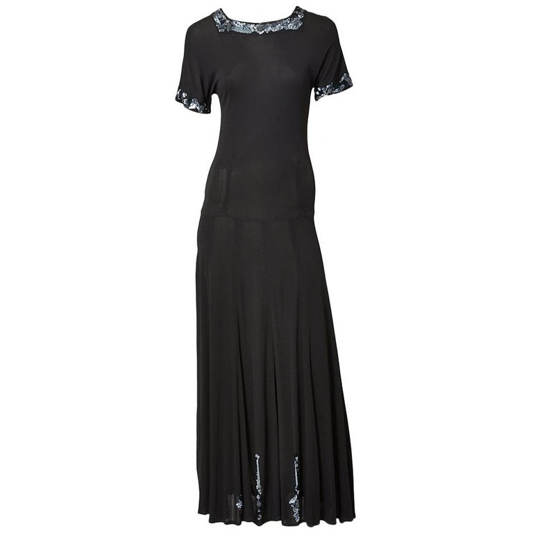 Jean Muir Jersey Maxi Dress with Sequined Embellishment For Sale