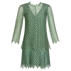 Jean Muir Metallic Green Lace Cocktail Dress, 1960s