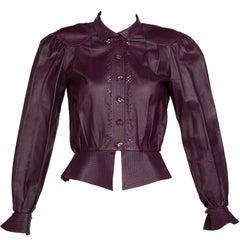 Jean Muir Purple Peplum Leather Jacket, 1980s