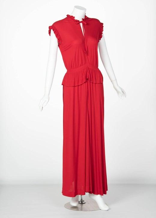 1970s Jean Muir Red Peplum Draped Jersey Dress For Sale at 1stdibs