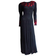 Jean Muir Silk Jersey Dress with Sequins 1980s