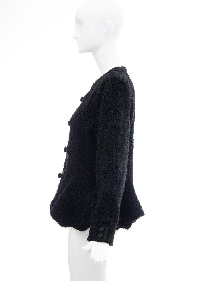Jean Muir Studio Black Faux Persian Lamb Jacket, Circa: 1980's For Sale 6