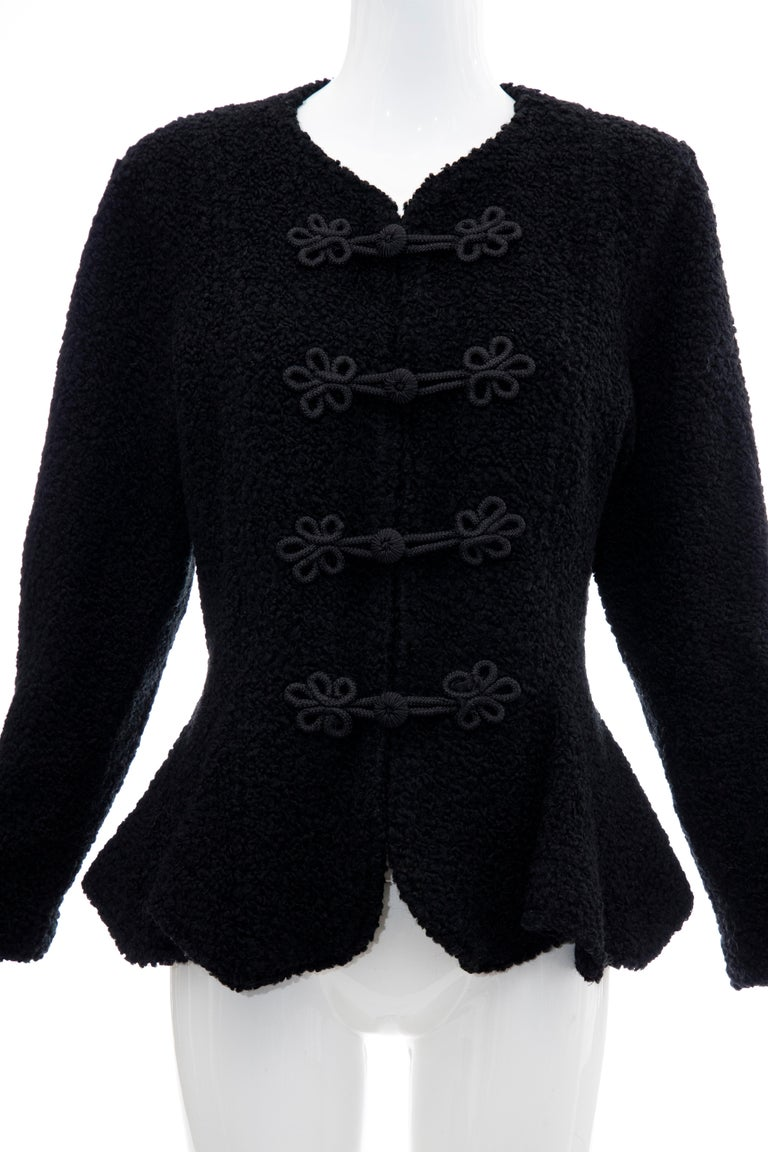 Jean Muir Studio black faux persian lamb jacket with frog style closure.   No Size Label  Bust: 38, Waist: 33, Shoulder: 16, Sleeve: 21.5, Length: 25