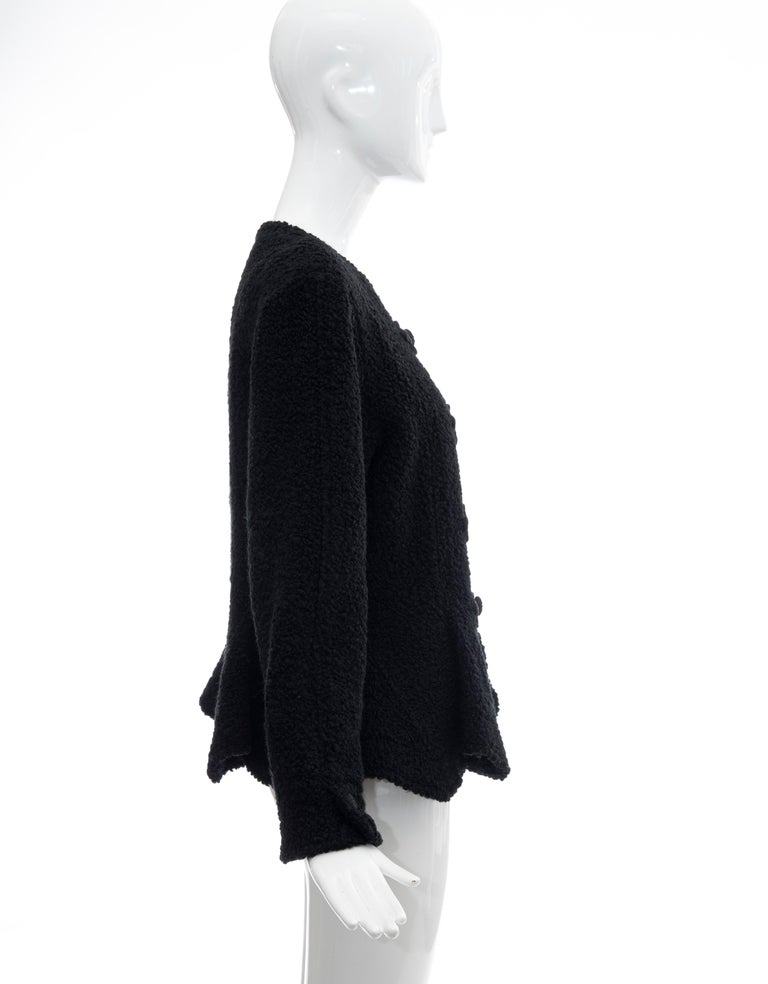 Jean Muir Studio Black Faux Persian Lamb Jacket, Circa: 1980's For Sale 1