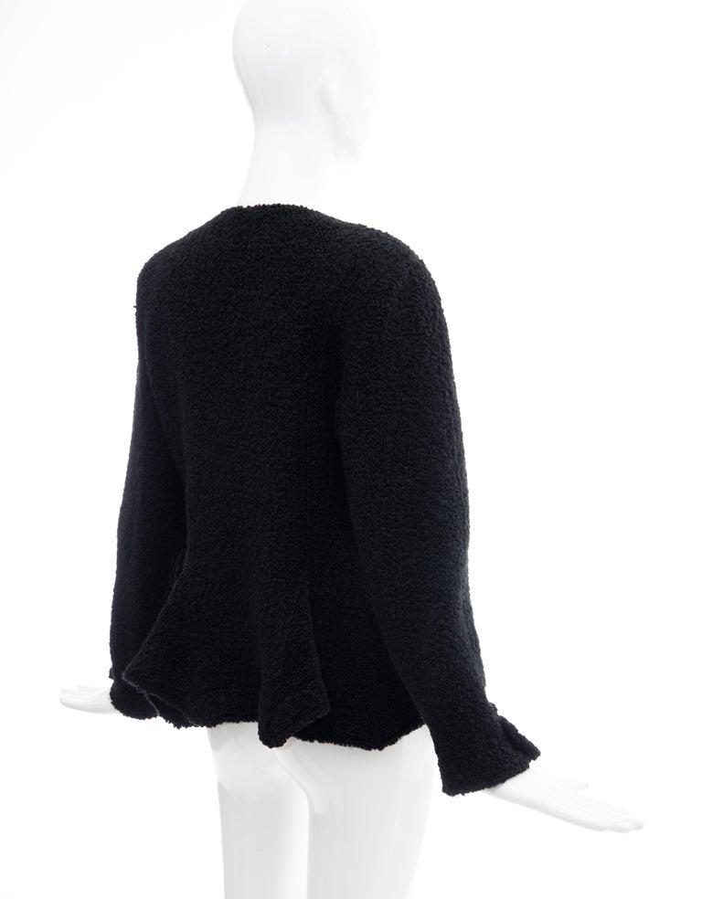 Jean Muir Studio Black Faux Persian Lamb Jacket, Circa: 1980's For Sale 2