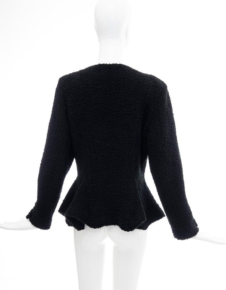 Jean Muir Studio Black Faux Persian Lamb Jacket, Circa: 1980's For Sale 3