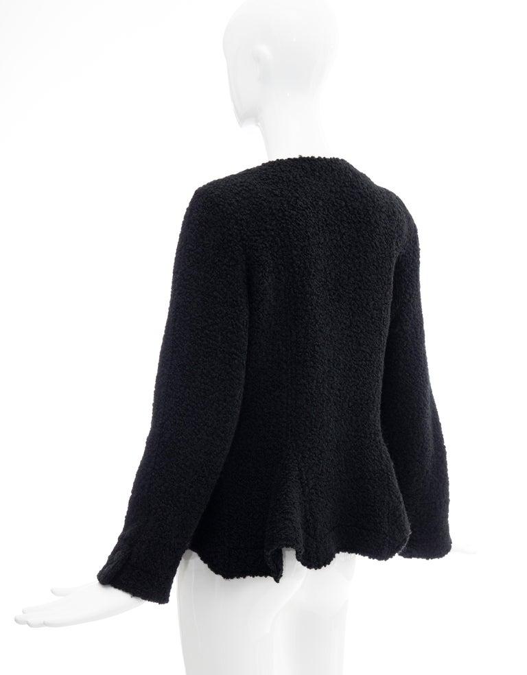 Jean Muir Studio Black Faux Persian Lamb Jacket, Circa: 1980's For Sale 4