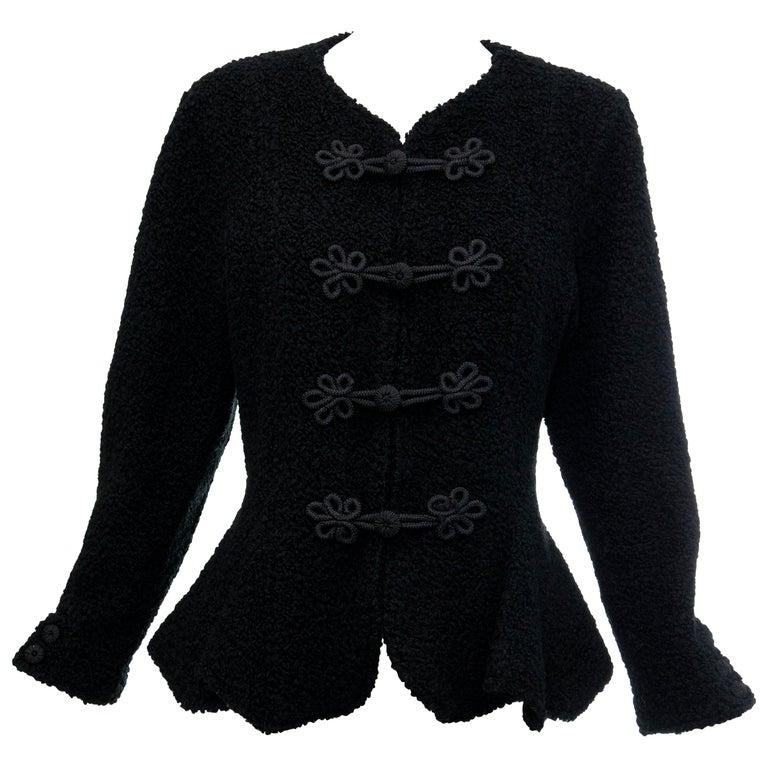 Jean Muir Studio Black Faux Persian Lamb Jacket, Circa: 1980's For Sale
