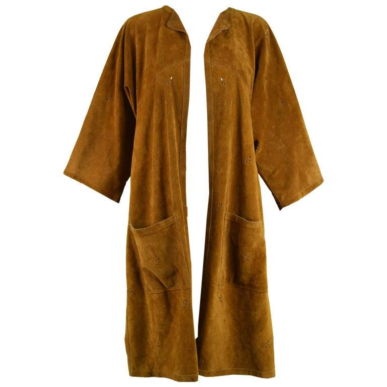 Jean Muir Vintage 1970s Punchwork Brown Suede Cut Out Duster Jacket