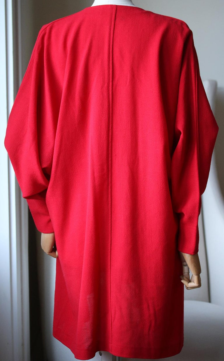 Red Jean Muir Vintage Crepe Draping Cardigan For Sale
