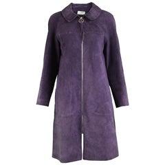 Jean Muir Vintage Purple Suede Coat Jacket, 1960s