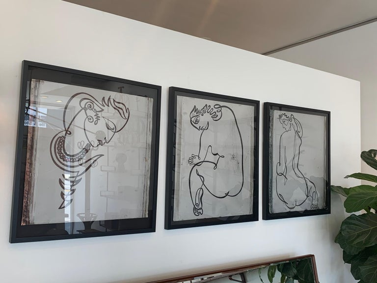 Jean Negulesco Continuous Line Drawing on Metal Plate For Sale 1