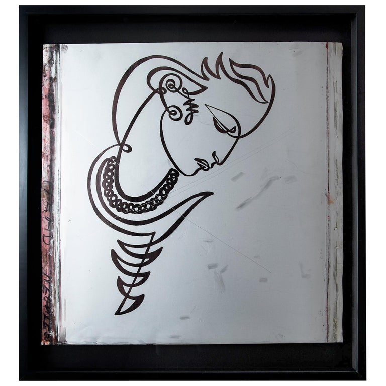Jean Negulesco Continuous Line Drawing on Metal Plate For Sale