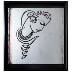 Jean Negulesco Continuous Line Drawing on Metal Plate
