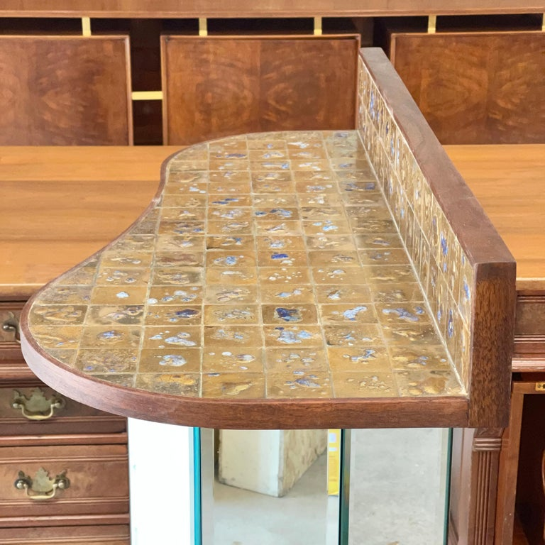 Jean Nison Ceramic Tiled Console Shelf by Weiss & Basser For Sale 9