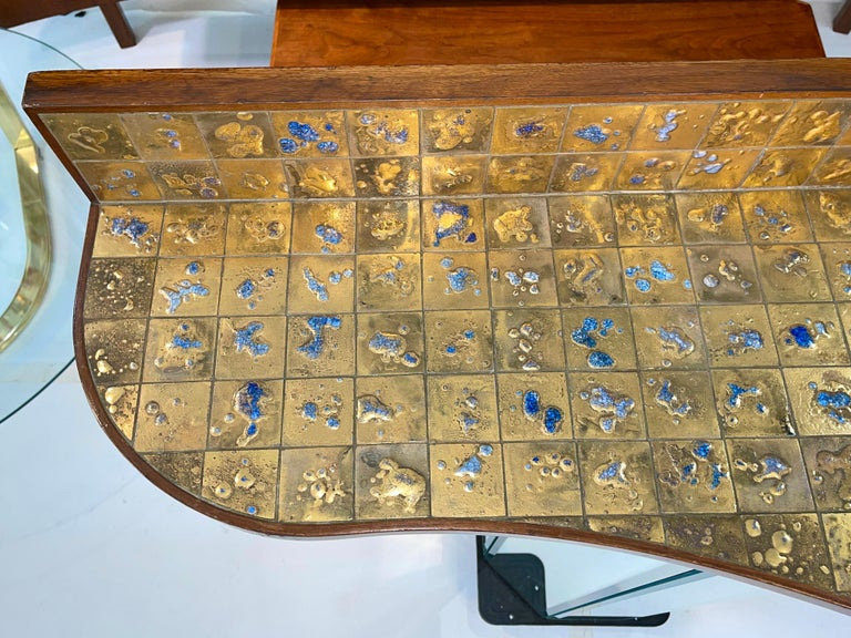 Jean Nison Ceramic Tiled Console Shelf by Weiss & Basser In Good Condition For Sale In Hingham, MA