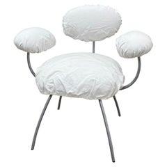 """Jean Nouvel """"Saint James"""" White Linen Dining Chair for Ligne Roset"""