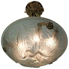 Jean Noverdy French Art Deco Bird Pendant Chandelier