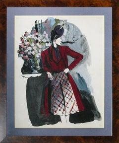 """Jean Pages for Vogue Magazine 1938 Original Watercolour """"Portrait of a Lady"""""""