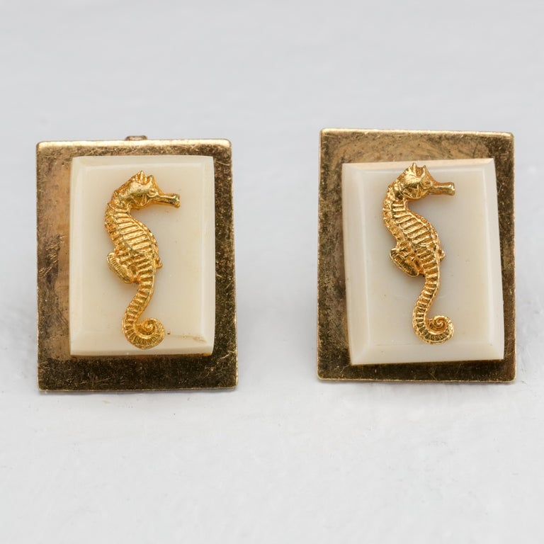 Jean Painlevé Rare Seahorse Jewelry Parure In Excellent Condition For Sale In Southbury, CT