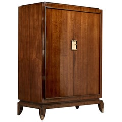 Jean Pascaud, Rosewood and Gilded Bronze Wardrobe, circa 1940