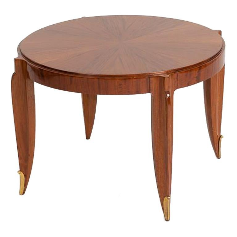 Jean Pascaud, Mahogany and Gilt Bronze Coffee Table, France, circa 1935 For Sale