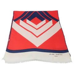 Jean Patou 1960's Red, White & Blue Silk Scarf
