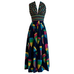 Jean Patou 1970s Navy Geometric Print Halter Top  Maxi Sun Dress