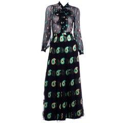 Jean Patou 2pc Black Gold & Green Paisley Dot Metallic Silk Dress w Sheer Blouse