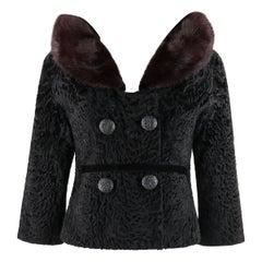 Jean Patou c.1950's Black Persian Lamb Brown Mink Fur Detachable Collar Jacket