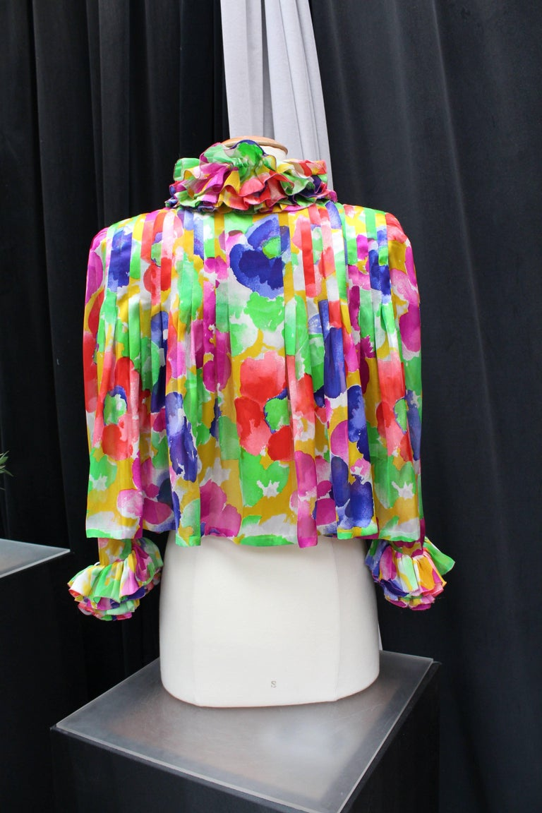 Jean Patou Haute Couture floral silk dress and jacket set For Sale 6