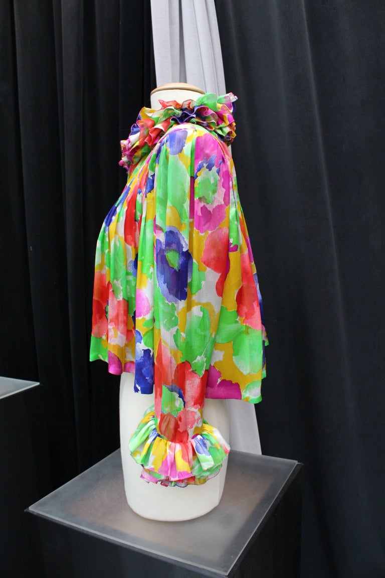 Jean Patou Haute Couture floral silk dress and jacket set For Sale 7