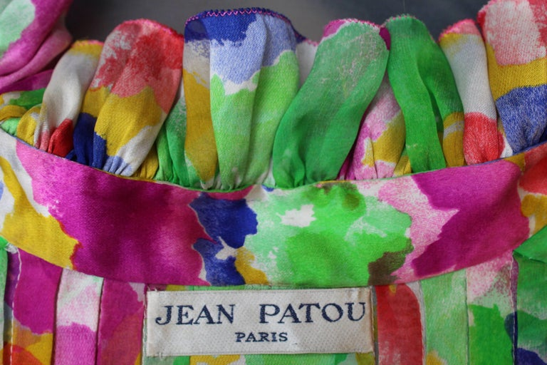 Jean Patou Haute Couture floral silk dress and jacket set For Sale 15