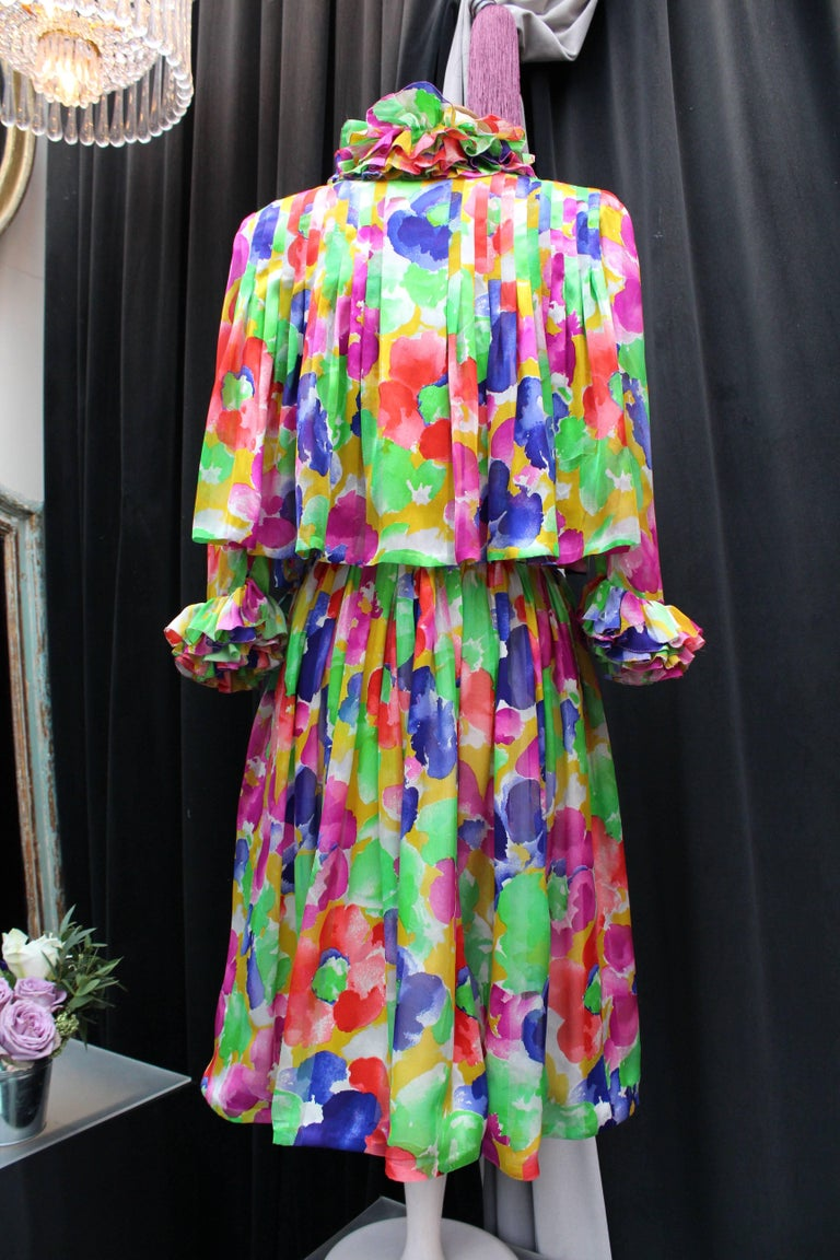 Brown Jean Patou Haute Couture floral silk dress and jacket set For Sale