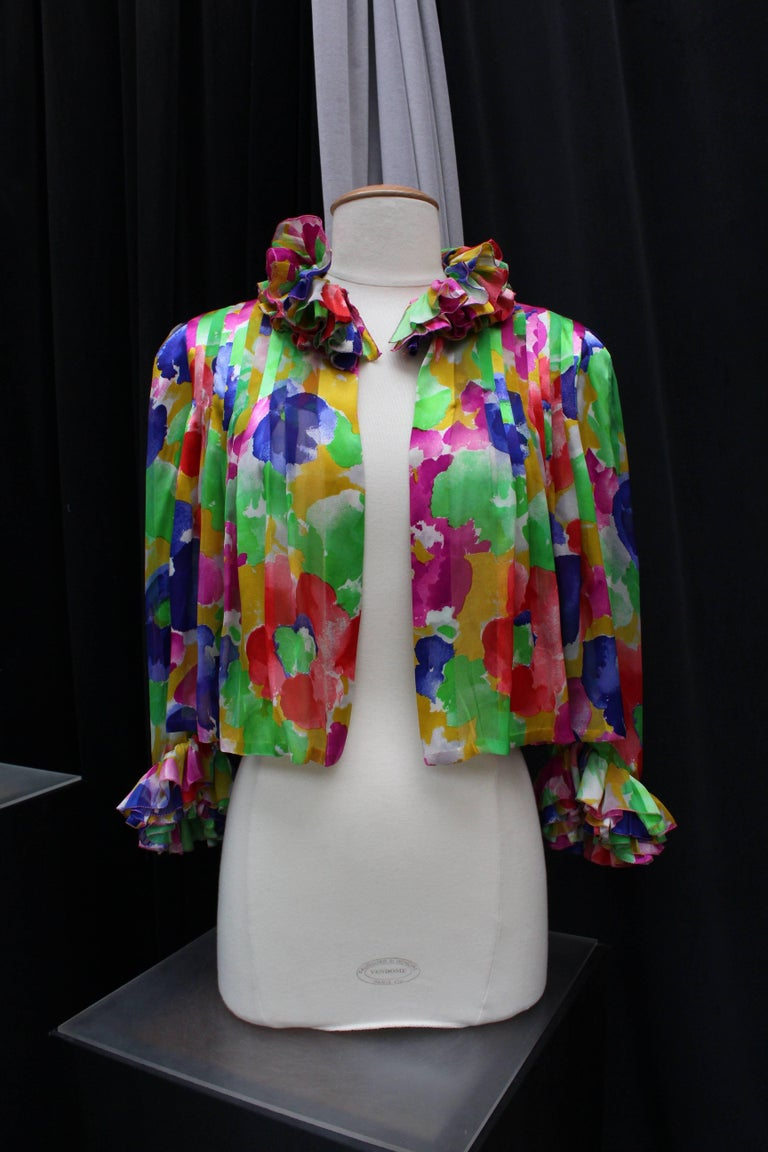 Jean Patou Haute Couture floral silk dress and jacket set For Sale 4