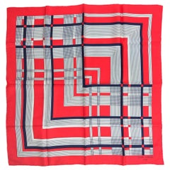 Jean Patou Red White and Blue Geometric Silk Scarf 1970s